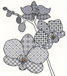 Bothy Threads Blackwork Orchid Cross Stitch Kit - 28cm x 32cm