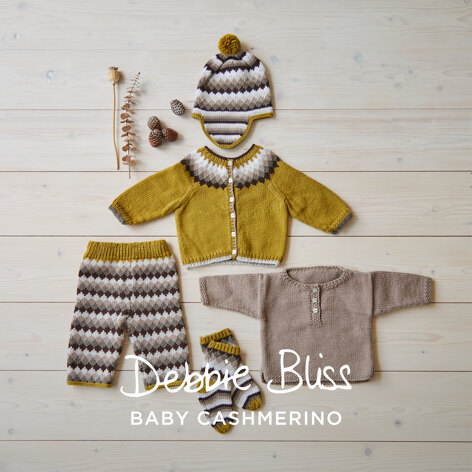 Winter Baby Cardigan, Shirt, Leggins, Socks & Hat in Debbie Bliss Baby Cashmerino - DB311 - Downloadable PDF