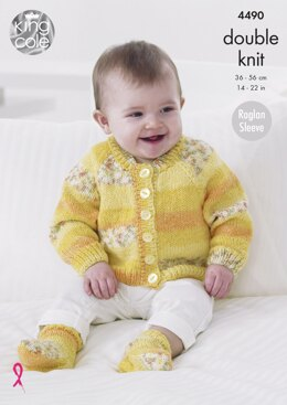 Raglan Cardigans, Hat & Socks in King Cole Drifter For Baby DK - 4490 - Downloadable PDF