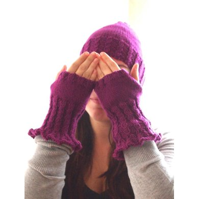 Baby Cable Hat and Fingerless Gloves Set