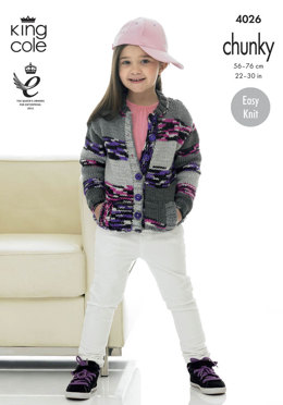 Child's Hoodie and Cardigan in King Cole Big Value Multi Chunky - 4026