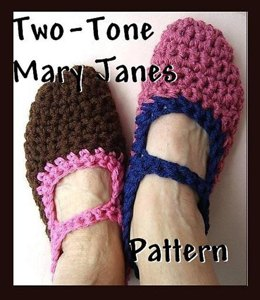 Crochet Slippers Pattern - Two Tone Mary Janes by Ashton11