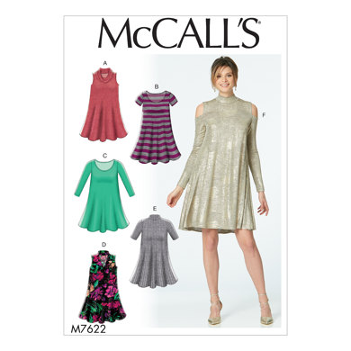 McCall's Misses' Knit Swing Dresses with Neckline and Sleeve Variations M7622 - Sewing Pattern