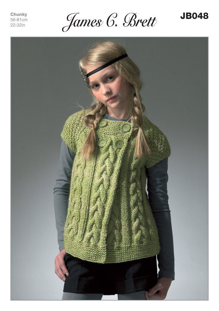 Girl S Cardigan In James C Brett Marble Chunky Jb048