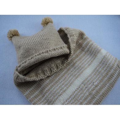 Newborn Hat & Cocoon Colorwork Knit Gift Set