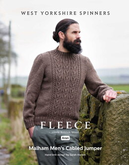 Malham Men's Cabled Jumper in West Yorkshire Spinners Bluefaced Leicester Aran - DBP0168 - Downloadable PDF
