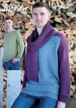 Sweater and Scarf in Wendy Pixile DK - 5986 - Leaflet