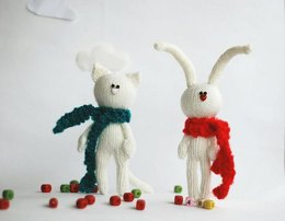 White rabbit in the red scarf and White cat in the dark green scarf