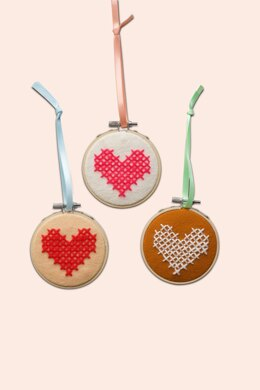 Cotton Clara Heart Cross Stitch Felt Hoops Kit