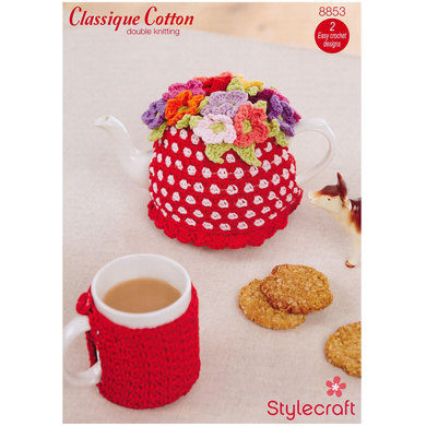 Crochet Teapot and Mug Cosy in Stylecraft Classique Cotton DK - 8853