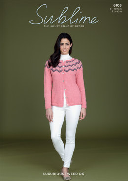 Cardigan With Striped Yoke in Sublime Luxurious Tweed DK - 6103 - Downloadable PDF