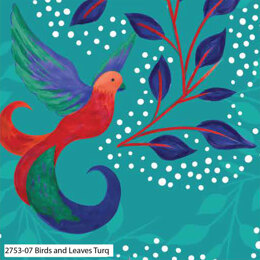 Craft Cotton Company Birds of Paradise - Birds and Leaves Turquoise