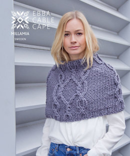 MillaMia Naturally Soft Super Chunky Ebba Cable Cape 4 Knäuel Projekt-Set