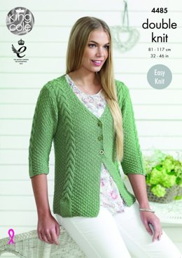 Cardigan and Sweater in King Cole Bamboo Cotton DK - 4485 - Leaflet