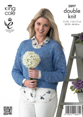 Ladies' Cropped Cardigan and Sweater in King Cole Giza Cotton DK - 3897