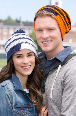 Fired Up Slouchy Beanies in Red Heart Team Spirit - LW4969 - Downloadable PDF