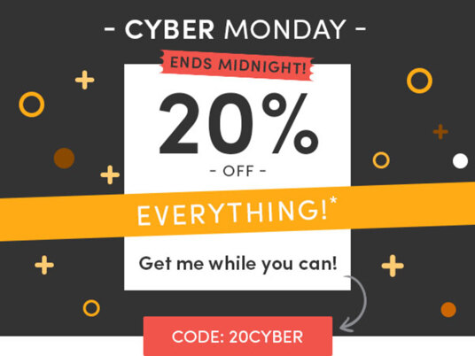 It's Cyber Monday! 20 percent off EVERYTHING ends tonight! Code: 20CYBER