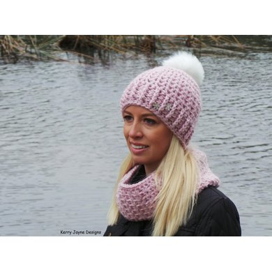 462b7d4e36e Snuggle Pom Hat Scarf and Cowlpattern.  4.99. off. Downloadable pattern.  Independent Designer. By Kerry Jayne Designs