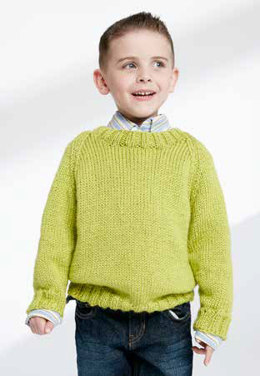 Child's Knit Crew Neck Pullover in Caron Simply Soft - Downloadable PDF