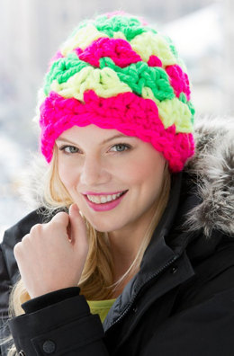 Shell Power Beanie in Red Heart Vivid Solids - LW3626 - Downloadable PDF