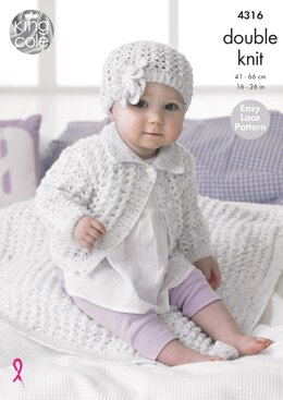 Girl's Cardigan, Blanket & Hat in King Cole Smarty DK - 4316 - Downloadable PDF