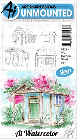 Art Impressions Watercolor Cling Rubber Stamps - Garden Shed