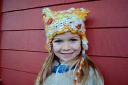 Kitty Kids Hat in Knit Collage Gypsy Garden