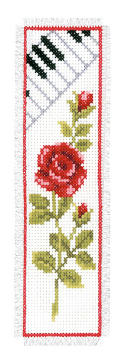 Vervaco Rose With Piano Bookmark Cross Stitch Kit - 6cm x 20cm