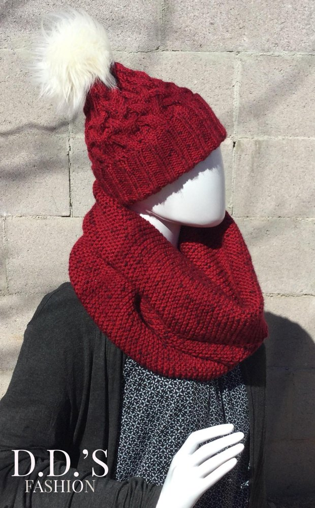 Braided Cable Knit Hat Scarf Set Knitting Pattern By D D S Fashion