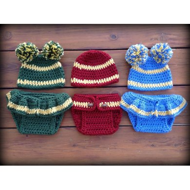 Baby Football And Cheer Diaper Cover And Hat Crochet Pattern By