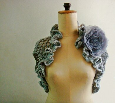 Knit Shrug with Chiffon flower