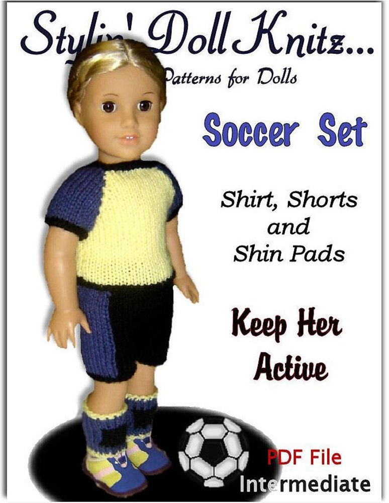 Doll clothes pattern.(knit) Fits American Girl Doll. Soccer Set 023 ...