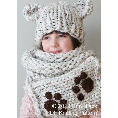 Chunky Bear Hat and Muff Cowl (Hat008)