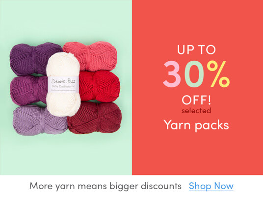 Up to 30 percent off selected yarn packs