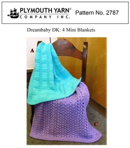 4 Mini Blankets in Plymouth Yarn Dreambaby DK - 2787 - Downloadable PDF