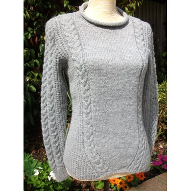 Sweater with Slanting Cables