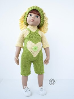 "Outfit Lime and lemon for doll 16""-18"" knitting flat"