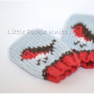 Baby Christmas Mittens ' Little Robins '