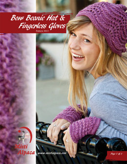 Bow Beanie Hat & Fingerless Gloves in Misti Alpaca Best of Nature Worsted - 3013 - Downloadable PDF