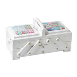 Sewandso Sewing Box with Blue Quilt Cushion Lids, Beech Wood