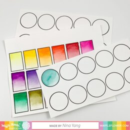 """Waffle Flower Crafts Clear Stamps 4""""X6"""" - Color Swatches For Watercolors"""
