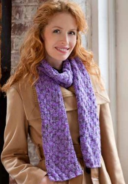 Shimmer Knit & Purl Scarf in Red Heart Shimmer Multis - LW2972