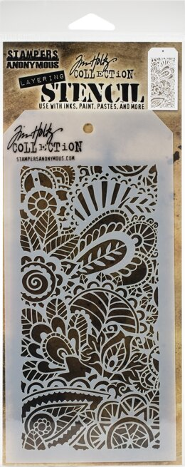 "Stampers Anonymous Tim Holtz Layered Stencil 4.125""X8.5"" - Doodle Art 1 -Layered"