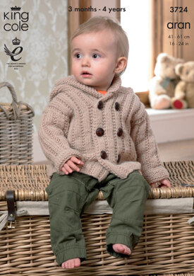 Coat with Hood, Jacket with Pockets and Lacy Cardigan in King Cole Comfort Aran - 3724