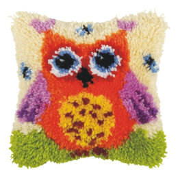 Orchidea Orange Owl Latch Hook Cushion Kit