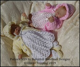 """Lacy Dress Set with Flower motif 7-12"""" doll"""