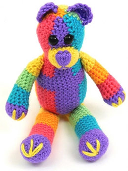 Rainbow Bear Toy in Caron Simply Soft & Simply Soft Brites - Downloadable PDF