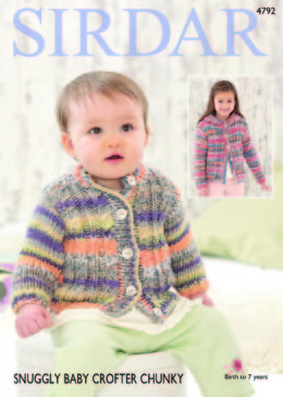 Round Neck Cardigan and Hooded Cardigan in Sirdar Snuggly Baby Crofter Chunky - 4792