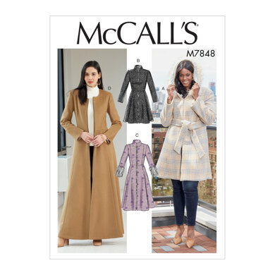 McCall's Misses'/Miss Petite and Women's/Women Petite Coats and Belt M7848 - Sewing Pattern