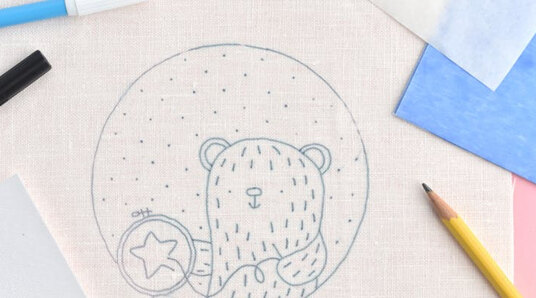 bear embroidery pattern transferred to fabric